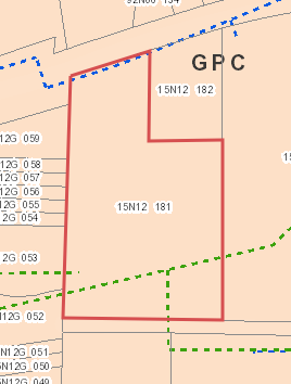 127 Dupree - Cherokee County GIS Uitlity Map (Blue=Water_Green=Sewer)